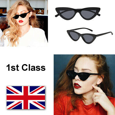 BLACK LOLITA TINY RETRO CAT EYE TRIANGLE VINTAGE SUNGLASSES 400 UV