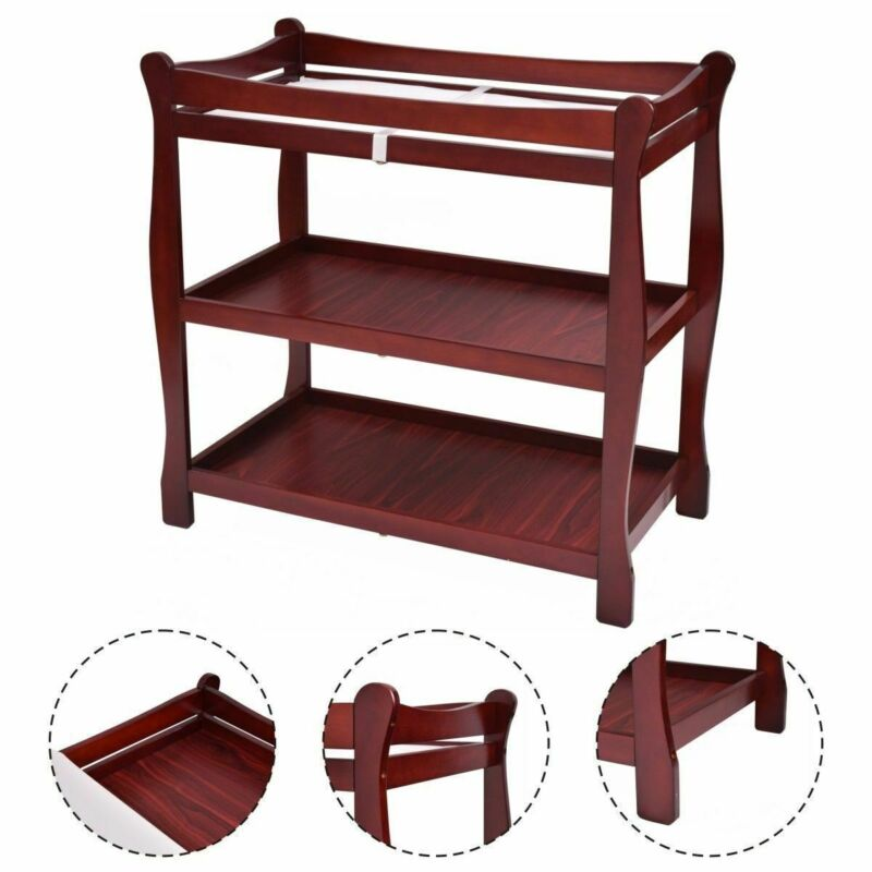 Cherry Sleigh Style Baby Changing Table Infant Newborn Nursery Diaper Station