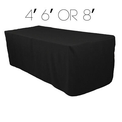 4 6 8 ft Rectangular Fitted 48 72 96 in Black Tablecloth Fabric Linen Cloth - Cloth Tablecloths