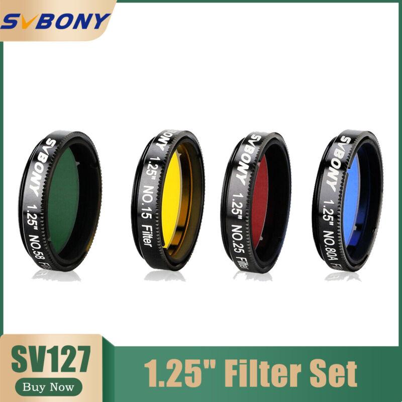 "SVBONY 1.25"" Eyepiece Filter Set(NO.15/25/58/80A Color) for Planetary Details"