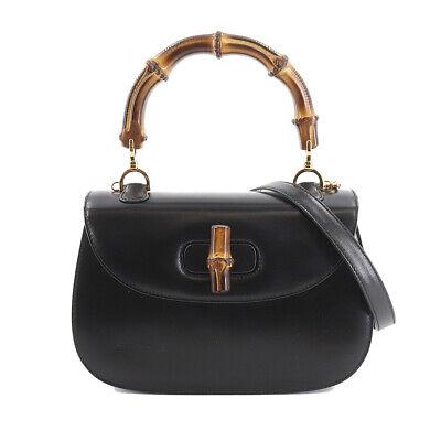 GUCCI Bamboo 2way Hand Shoulder Bag Leather Black Vintage 90128407