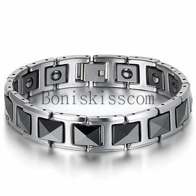 Silver Tungsten Carbide Black Ceramic Link Men's Magnetic Healthy Bracelet