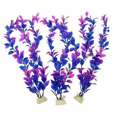 3pcs Aquarium Decoration Ornament Artificial Plastic Plant Purple 12inch