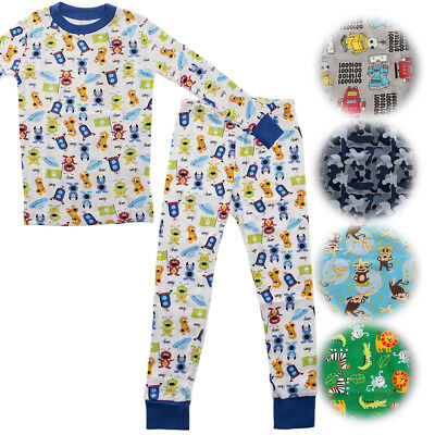 Kids Two-Piece Organic Cotton Pajamas Little Boys Toddler PJs Pants Shirt - Toddler Boys Pjs