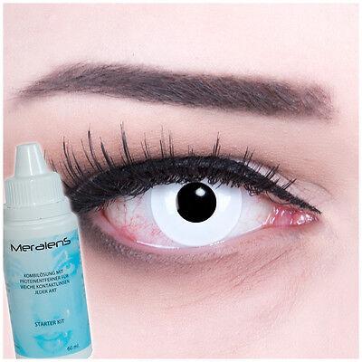 Farbige Fun Crazy Kontaktlinsen White Out Fasching Halloween GRATIS Komplettset