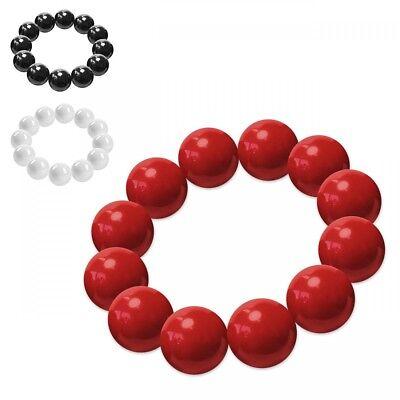 rot schwarz weiß Damen 50er 60er (Weiße Perlen-armband)
