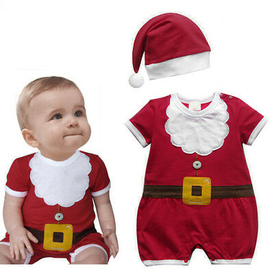 Christmas Santa Claus Costume Romper Xmas Hat Outfits Clothes For Baby Girls Boy](Christmas Outfits For Girls)