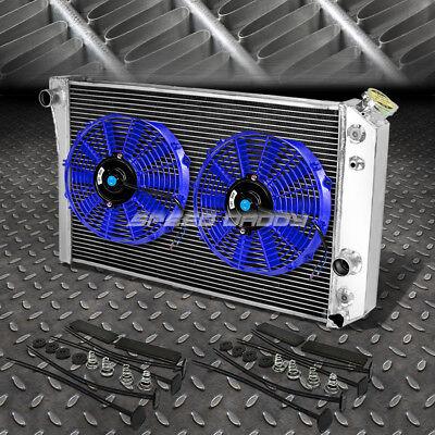"""3-ROW ALUMINUM RADIATOR+2X 9"""" FAN BLUE FOR 82-02 CHEVY S10/BLAZER/CORVETTE V8"""