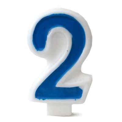 Blue Numeral 2 Number Candle White Premium Birthday Candle Anniversary Cake - Number 2 Candle