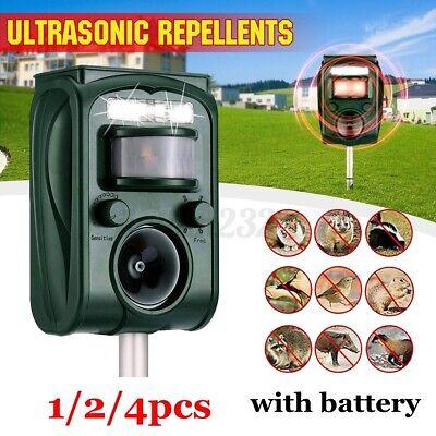 4pcs Animal Repeller Ultrasonic Solar Power Outdoor Pest Cat Mice Deer Sensor-US