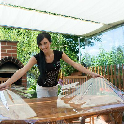 Transparente Tischdecke abwaschbar aus PVC Klarsichtfolie 0,3mm Breite 140cm ()