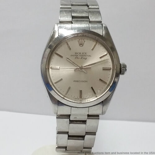 $1150.00 - Vintage Rolex Air King Precision 5500 Mens Stainless Steel Watch 1980s