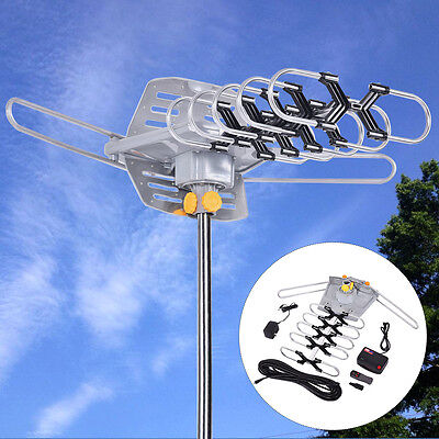 100 Mile 360 Rotor 1080P Outdoor Amplified Antenna Digital HD TV UHF/VHF Adaptor