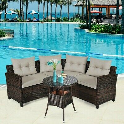 Garden Furniture - 4 Piece Furniture Patio Set Outdoor Wicker Sofa Sectional Garden Rattan Comfort