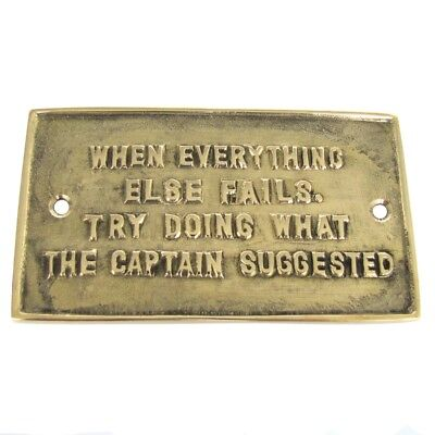 Solid Brass Boat Ships Sign Nautical Plaque LISTEN TO THE CAPTAIN maritime decor - Boat Decorations