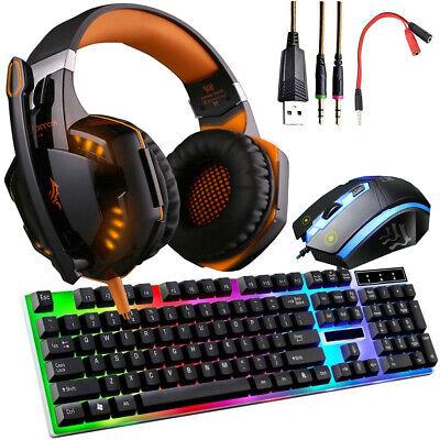 3.5mm Gaming Headset Gaming Keyboard Stereo Headphones & Mouse Bundles W/Mic LED