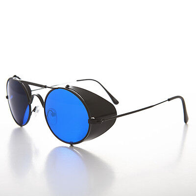 Black Steampunk Sunglass with Folding Side Shields Blue Lens - (Sunglasses With Side Lenses)
