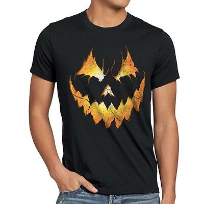 Halloween Kürbis Herren T-Shirt Kürbiskopf Fasching Horror Kostüm Grimasse - Herr Kürbiskopf Kostüm