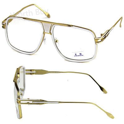 White Gold DMC Square Gazelle Hip Hop Clear Lens Frame Glasses Fashion (Gazelles Glasses)