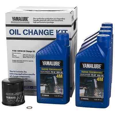 YAMAHA OEM F150 Outboard Oil Change Kit 5- Qt. 10W-30 4M Filter LUB-MRNMR-KT-10