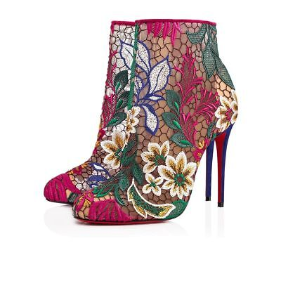 Christian Louboutin Miss Tennis 100 Multicolor Mesh Lace Ankle Heel Bootie 35