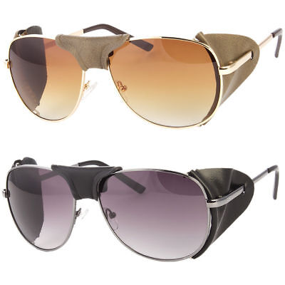 FAUX LEATHER SIDE SHIELD AVIATOR SUNGLASSES CLASSIC MOTORCYCLE WIND (Aviator Sunglasses Side Shields)