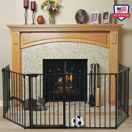 6 Panels Fireplace Fence Baby Child Safety Fence Pet Hearth Gate Metal Fire Gate