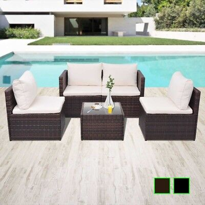 Garden Furniture - vidaXL Garden Sofa Set 13 Piece Poly Rattan Wicker Brown/Black Patio Furniture
