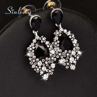 Vintage Black Cubic Zirconia Water Drop Dangle Earrings Antique Silver Plated Cubic Zirconia Antiqued Bead
