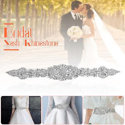 DIY Crystal Rhinestone Applique Sewing Wedding Bridal Belt Sash Crafts Dress US