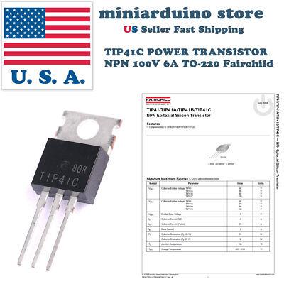 20 X Tip41c Power Transistor Pnp 100v 6a To-220 Fairchild Tip41
