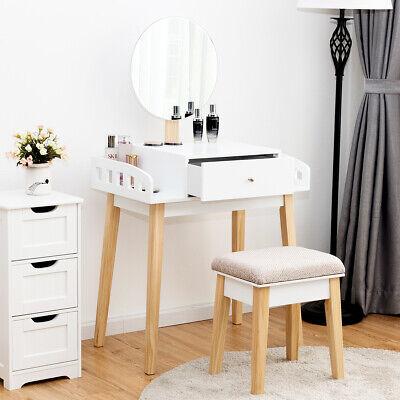 Kiefer Schminktisch Spiegel (Schminktisch Frisiertisch Kosmetiktisch Make-up Frisierkom mit Spiegel + Hocker)
