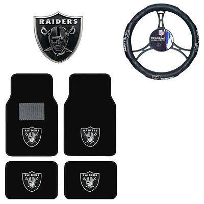 New Nfl Oakland Raiders Car Truck Floor Mats Steering Wheel Cover   Emblem