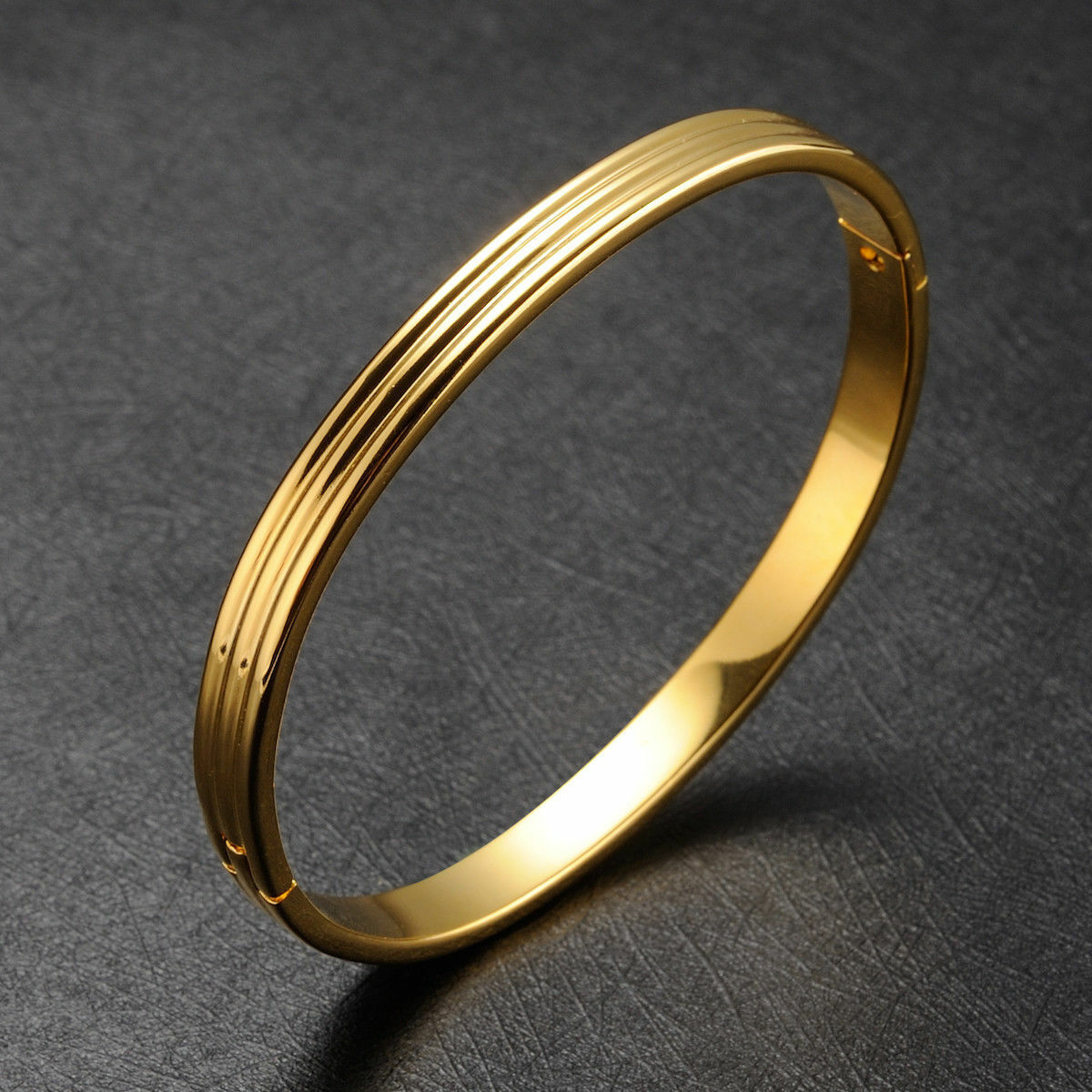 Damen Gold Glitzer Oval Armspange Armband 24 Karat 999er Gold Vergoldet Armreif