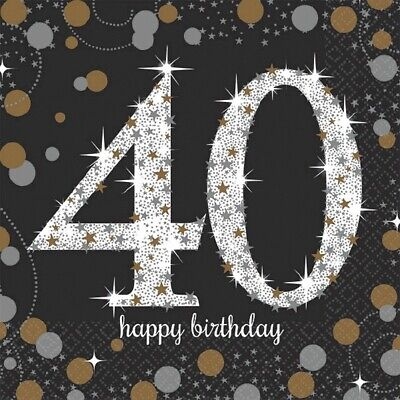 40th Luncheon Napkins Sparkling Celebration Birthday[16ct] Party Decorations 40s