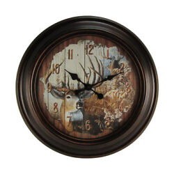 LARGE 23 Round Big Buck Deer Huge Wall Clock Country Rustic Hunting Cabin Decor