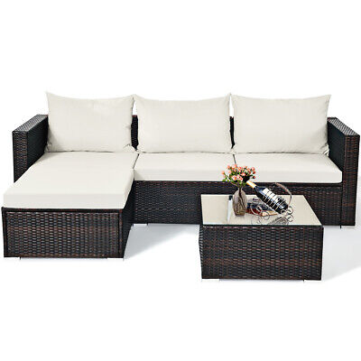 5 PCS Patio Furniture Set Rattan Wicker Table Shelf Garden S