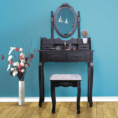 4 Drawers Vanity Table Set with Mirror and Cushioned Stool Makeup Dressing Table](Mirror Table)