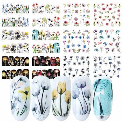 Frühling Einheit (12x Nail Tattoo Blumen #2 Frühling Sommer Blüten Nails Slider Wraps Nailart)
