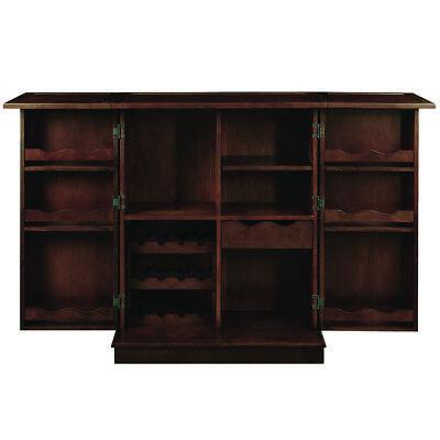 RAM Gameroom Cappuccino Solid Wood Home Portable Folding Bar Cabinet