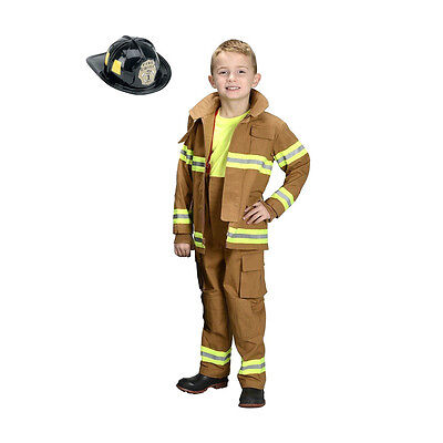 Jr. Fireman Fire Fighter Deluxe Tan Child Costume Suit w/ Helmet | Aeromax FFT](Aeromax Firefighter Costume)