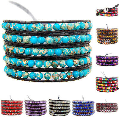 Beads - Hot Colorful Hand Made Mixed Crystal and Gemstones Beads Wrap Leather Bracelet