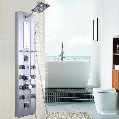 "46"" Bathroom Aluminum Shower Panel Thermostatic Spire w/ 10 Rub down Jets"