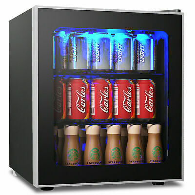 60 Can Beverage Refrigerator Beer Wine Soda Drink Cooler Mini Fridge Glass Door