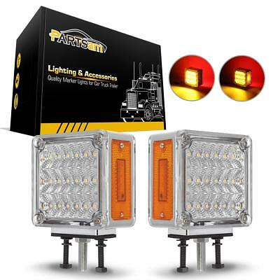 2x Clear/Amber/Red Pearl Square Double Face 39 LED Pedestal Lights Truck (Double Face Trailer)