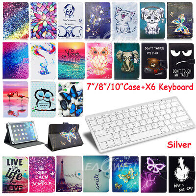 """For 7"""" 8"""" 10.1"""" Android Tablets Universal Leather Case Cover Bluetooth Keyboard"""
