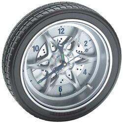 Tire Rim Gear Hubcap Wall Mountable Clock Rally Wheel Auto Home Body Shop Office