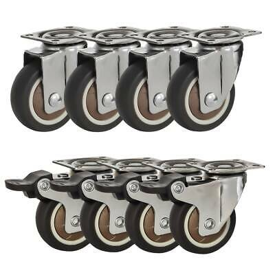 8 Pack Combo 2 Brown Rubber Caster Wheels Swivel Plate 4 Wbrake 4 Plate