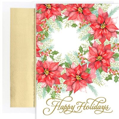 Collection Poinsettia - POINSETTIA WREATH Holiday Collection 18 pack Boxed Christmas Cards 915600 2018