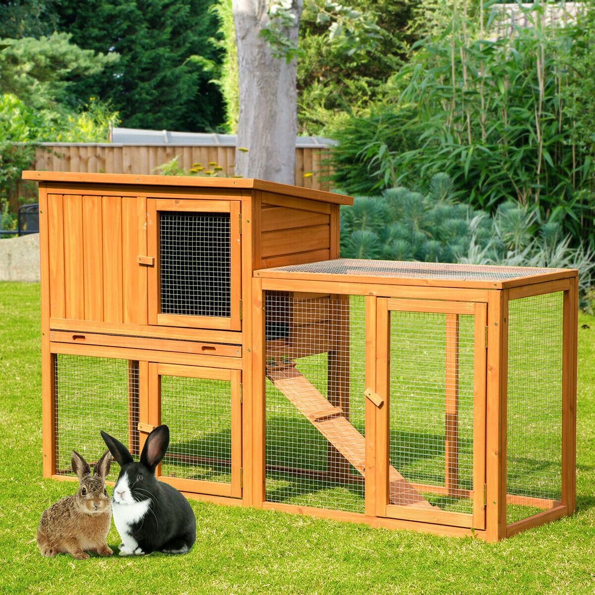 """AECOJOY 54.3"""" Wooden Rabbit Hutch Chicken Coop Small Animal Pet House w/ Run Cages, Hutches & Enclosure"""